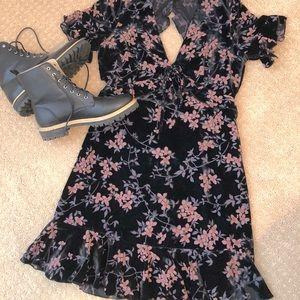 VICI Floral Velvet Mini Dress NWOT